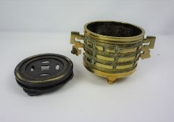 Chinese Brass Koro, Of cylindrical form, Reign marks to the underside, 10cm high, 17cm wide, With