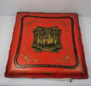 Chinese Export Red Cinnabar Lacquer Box, circa late 19th / early 20th century, The top of the Box is