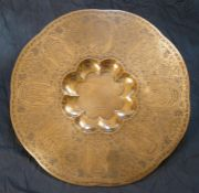 Indian Brass Charger, circa 19th century, Possibly from the School of Jeypore, Decorated with panels