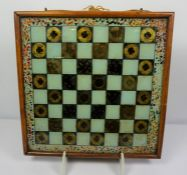 Reverse Painted Glass Chess Board, circa 19th century, Framed, 39cm wide