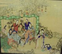 """Chinese School circa late 19th / early 20th century """"Figures Round a Table, With Female Figures to"""
