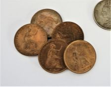 Five Victorian 1853 Copper Coins, To reverse a seated Britannia, With a Victorian 1891 Crown, And