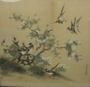 """Chinese School circa late 19th / early 20th century, """"Birds Flying and Perched on a Blossom Tree"""""""