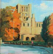 """Andrew Binnie (Scottish) """"Kelso Abbey"""" Oil on Canvas, Signed, 19cm x 19cm"""