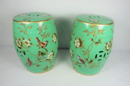 Pair of Chinese style Pottery Barrel Seats / Stands, 20th century, Decorated with panels of Exotic
