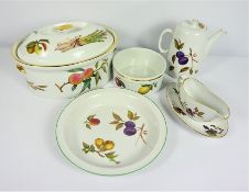 """Collection of Royal Worcester """"Evesham"""" Pattern Table Wares, To include Tureens, Plates, Cups,"""