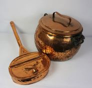 Copper Cooking Pot, circa 19th century, Having an Iron handle, Approximately 27cm high, With a