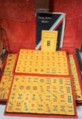 Chinese Mah - Jong Set, Having Bone sticks, Enclosed in a Leather Travel CaseCondition
