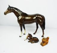 Large Beswick Figure of a Racehorse, 30cm high, With a Beswick Foal and a Novelty Snuff Box,