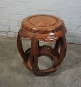 Chinese style Hardwood Barrel Seat / Stand, 47cm high, 35cm wideCondition reportLacking a piece of