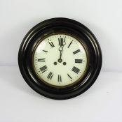 Antique Ebonised Circular Wall Clock, With pendulum and key