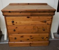 Pine Chest of Drawers, 87cm high, 93cm wide, 47cm deep, With a pair of Matching Bedside Chests, (3)