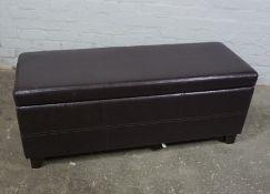 Leather Effect Ottoman, 42cm high, 120cm wide