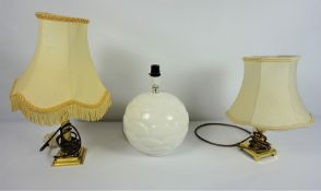 Three Assorted Table Lamps, (3)Condition reportNot tested (sold as seen)