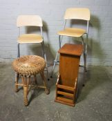 Two Modern Folding Chairs, With a Bed Tray and a Wicker Stool, (4)