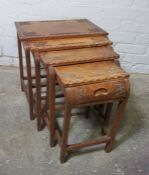 Oriental style Nest of Four Tables, Largest 45cm high, 45cm wide