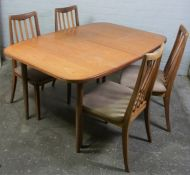 Retro G-Plan Teak Extending Dining Table, With four Chairs, Table 72cm high, 144cm wide, 92cm