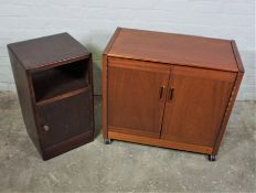 Phillips Hostess Trolley, 69cm high, 76cm wide, 41cm deep, Also with a Bedside Cabinet, (2)Condition