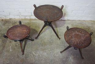 Three Similar African Hardwood Folding Tables, Largest 54cm high, 46cm wide (3)
