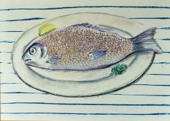 """Laura Murphy """"Abstract Study of a Fish"""" Mixed Media, Signed in pencil, 41cm x 57.5cm, Label to verso"""