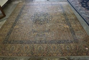 Persian style Machine made Carpet, Decorated with allover panels of Animals in foliage, 331cm x