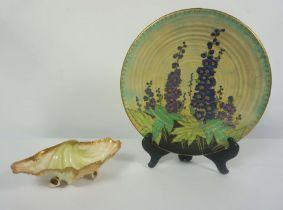Art Deco Crown Devon for Fieldings Plate, 30cm diameter, With a Nautilus porcelain Shell shape