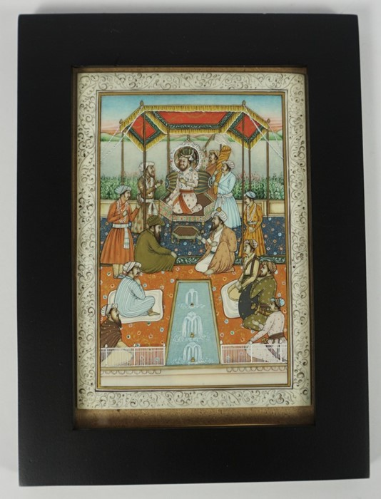 """Mughal School, circa 19th century """"Figures in a Palace scene"""" Watercolour on Ivory, 13cm x 9cm, - Image 2 of 2"""