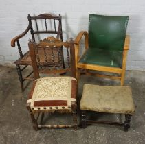 Three Assorted Chairs, circa 19th century and later, Largest, 85cm high, With a Stool (4)
