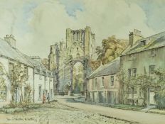 """Dennis Flanders RWS RBA """"Kelso Abbey"""" Watercolour, Signed, 32cm x 43.5cm, Label to verso for The"""