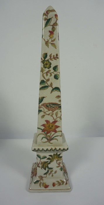 Pair of Reproduction Chinese Crackle Glaze Obelisks, Decorated with allover panels of Birds in - Image 3 of 5