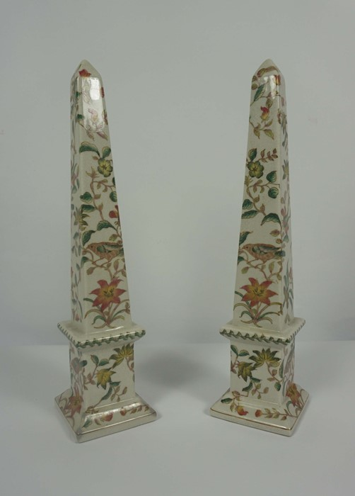 Pair of Reproduction Chinese Crackle Glaze Obelisks, Decorated with allover panels of Birds in