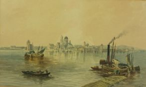 """J.Russell """"Fishing Boats with a Town to the Background"""" Watercolour, Signed, 22cm x 37cm, With a """""""