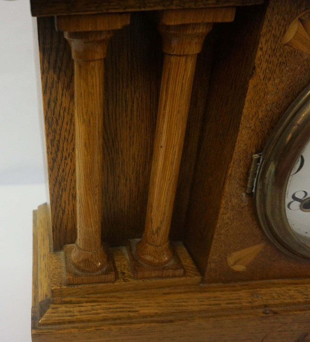 American Oak Inlaid Mantel Clock, circa late 19th century, In the Corinthian manner, Having a twin - Image 3 of 4