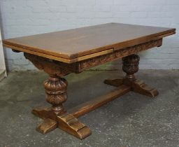 Oak Draw Leaf Dining Table, circa 1930s, Raised on Pineapple supports, 76cm high, 245cm long, 85cm
