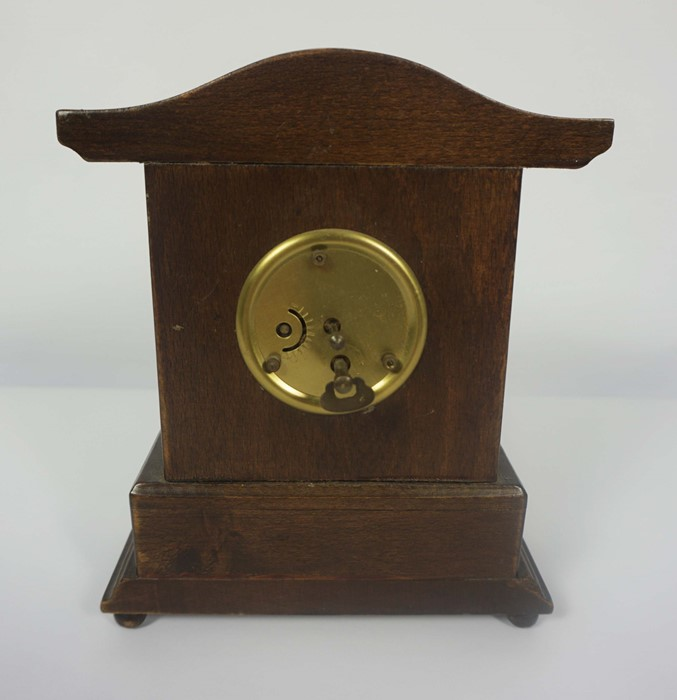 French Brass Cased Mantel Clock, circa late 19th century, 14cm high, With two Reproduction Mantel - Image 3 of 7