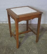 Oak Occasional Table, Having a Marble insert, 68cm high, 53cm wide, 53cm deep