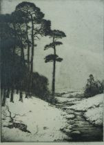 """John G Mathieson """"Woodlands Scene with River"""" Etching, Signed in pencil, 27cm x 19.5cm"""