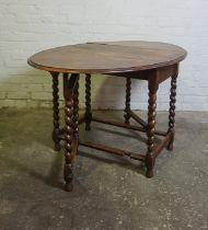 Oak Gateleg Table, 71cm high, 93cm wide, 136cm long