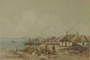 """D McLeod """"Coastal Scene with Figures and Cottages to the Foreground"""" Pair of Watercolours, Signed,"""