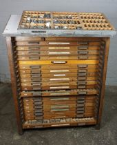 Vintage Oak Printing Chest, Having a later top, With ten drawers enclosing accessories, 127cm