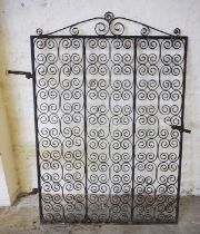Architectural & Salvage Interest, Antique Wrought Iron Scrolled Gate, 182cm high, 134cm wide