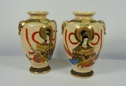 """Pair of Japanese Satsuma """"Samarai"""" Crackle Glaze Vases (20th century) 27cm high, (2)"""