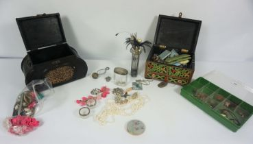 Quantity of Costume Jewellery, Hat Pins & Silver, To include a Scottish Silver and Agate Brooch,