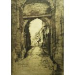 """Adeline S Illingworth (1859-1930) """"French Street Scene"""" Etching, Signed in pencil, 25cm x 17.5cm,"""