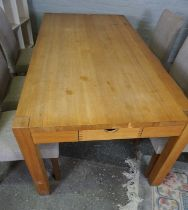 Modern Oak Dining Table, With a set of six Dining Chairs, The table having a cutlery drawer to