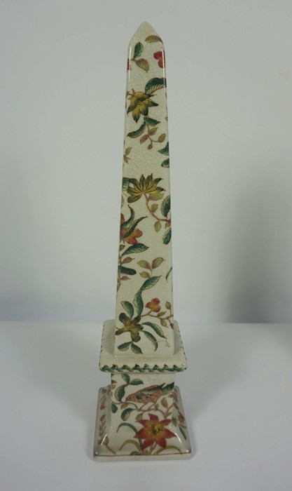 Pair of Reproduction Chinese Crackle Glaze Obelisks, Decorated with allover panels of Birds in - Image 4 of 5