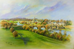 """Ronnie Glass """"Kelso Bridge"""" Acrylic, Signed and Dated 08, 56cm x 81.5cm"""
