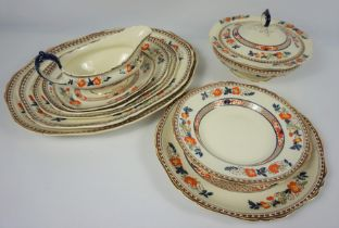 Hancock & Sons Stoke on Trent, Indian Tree Pattern Opaque China Dinner Set, To include Platters,