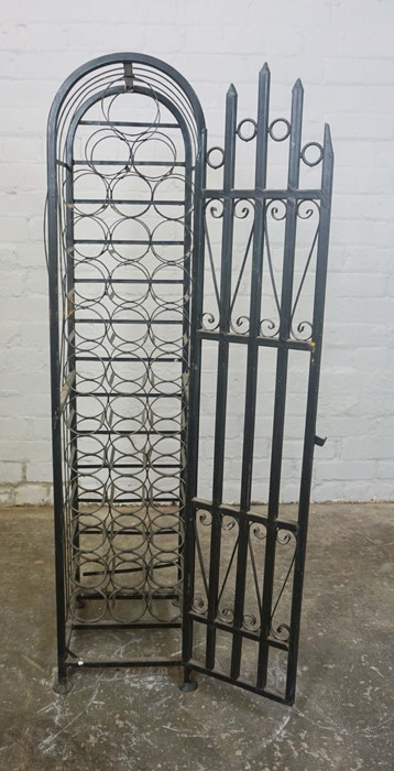 Gothic style Wine Rack, Having a door enclosing 36 open Bottle inserts, 131cm high, 30cm wide, - Image 2 of 4