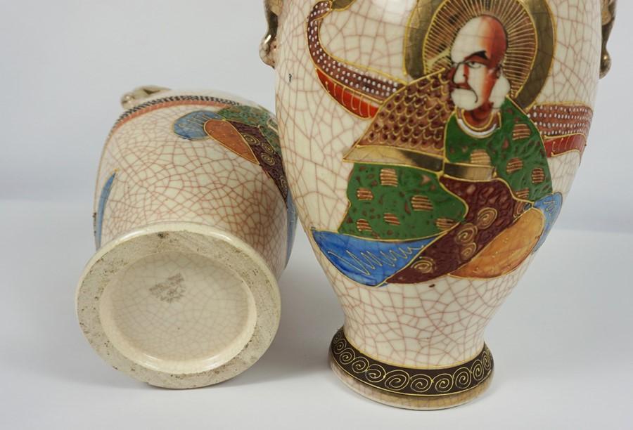 "Pair of Japanese Satsuma ""Samarai"" Crackle Glaze Vases (20th century) 27cm high, (2) - Image 4 of 4"